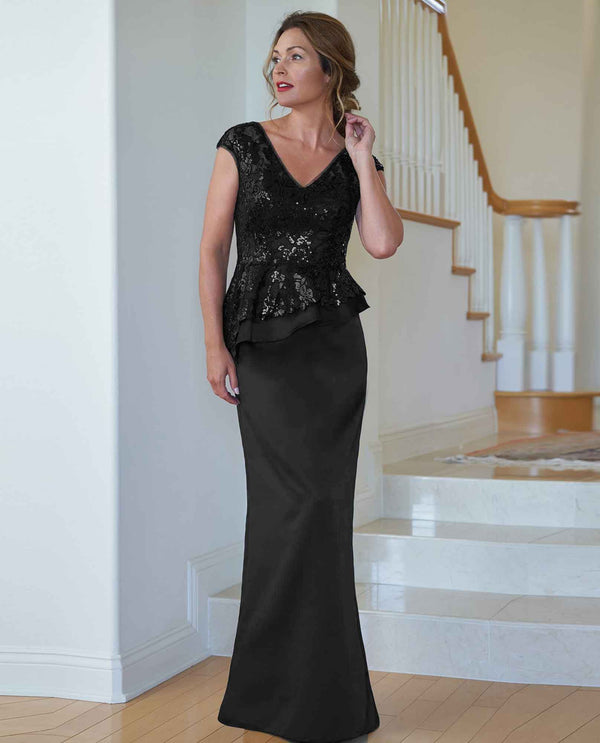 Black Jade Jasmine K218009 Sequin Pelum Satin Skirt Dress mother of the bride gown
