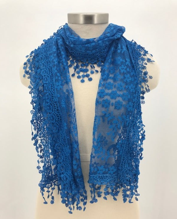 Rectangle Lace Trim Scarf Royal