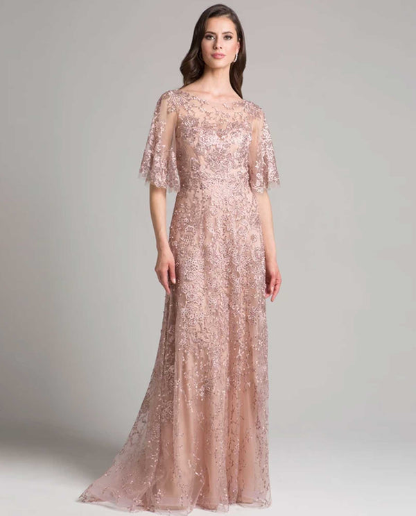 Lara 33277 Butterfly Sleeves Beaded Dress mauve pink plus size lace gown with rhinestones