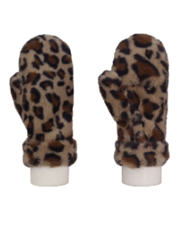 Leopard Print Convertible Mitten Brown