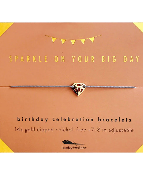 Lucky Feather HBD.GSPARK Sparkly Bday Bracelet Gold