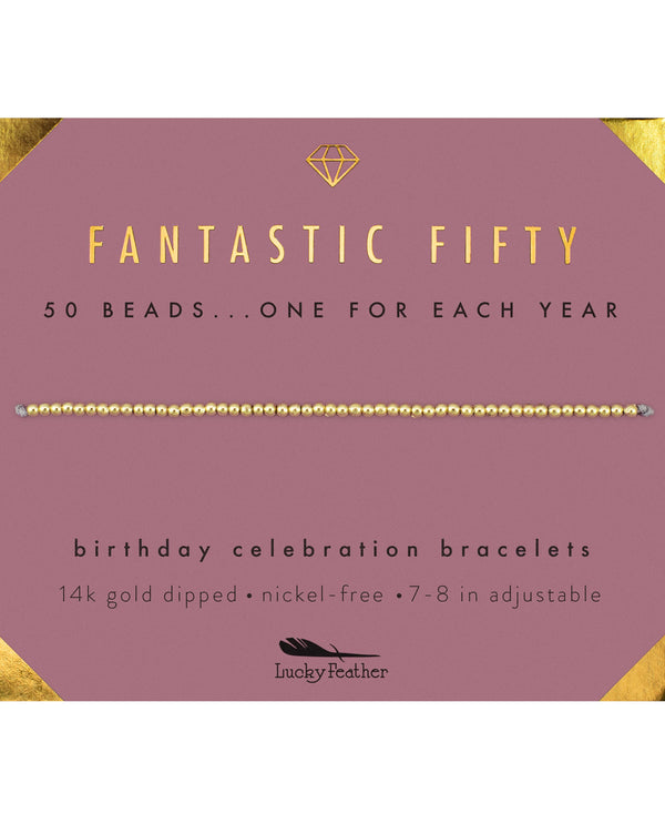 Lucky Feather HBD.M50 50Th Bday Bracelet Gold
