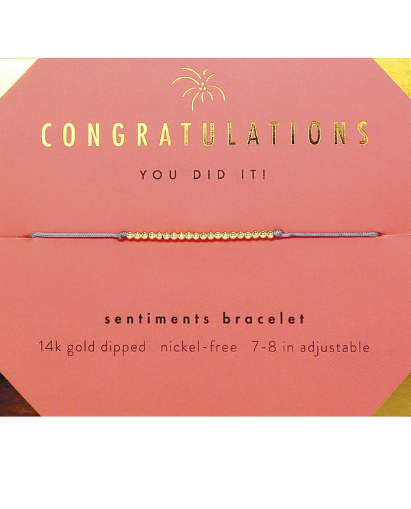 Lucky Feather HBD.SCON Congratulations Bracelet Gold