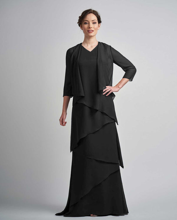 Black Jade M210002 Charlotte Chiffon Dress with V-Neckline and Jacket mother of the bride
