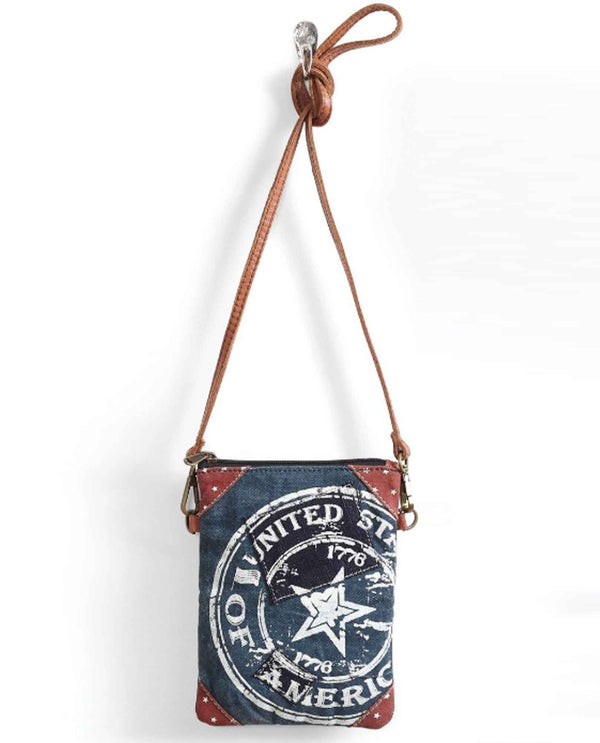 Mona B M-5203 United Cross Body blue upcycled canvas crossbody bag with leather strap
