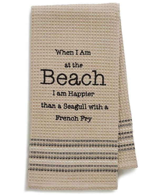 Mona B MH-175 Happy Beach Dishtowel tan cotton dish towel with funny saying about the beach