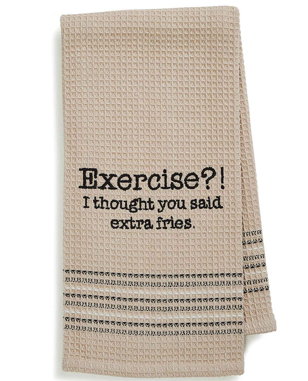 Mona B MH-140 Exercise Dishtowel cotton dish towel with funny saying