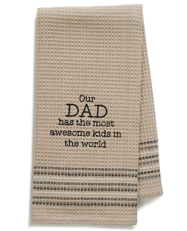 Mona B MH-177 Dad Dishtowel tan cotton dish towel with funny saying about dad