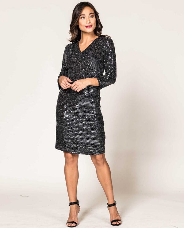 Last Tango Draped 3/4 Sleeve Sequin Dress Black Silver