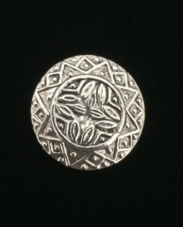 Silver Asian Button Brooch