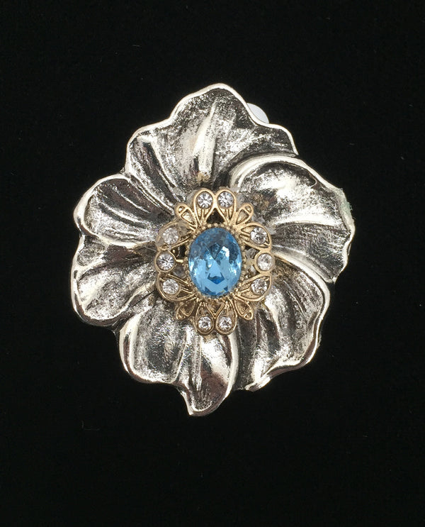 Petal Flower Birth Stone Brooch Aqua
