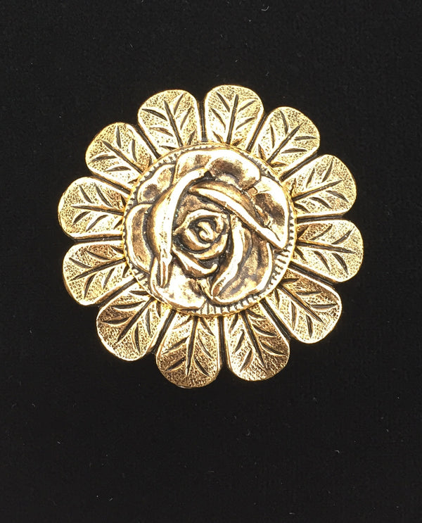 Gold Rose On Small Petal Brooch