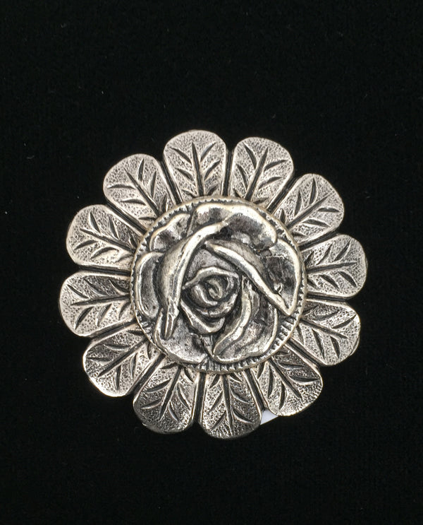 Silver Rose On Small Petal Brooch