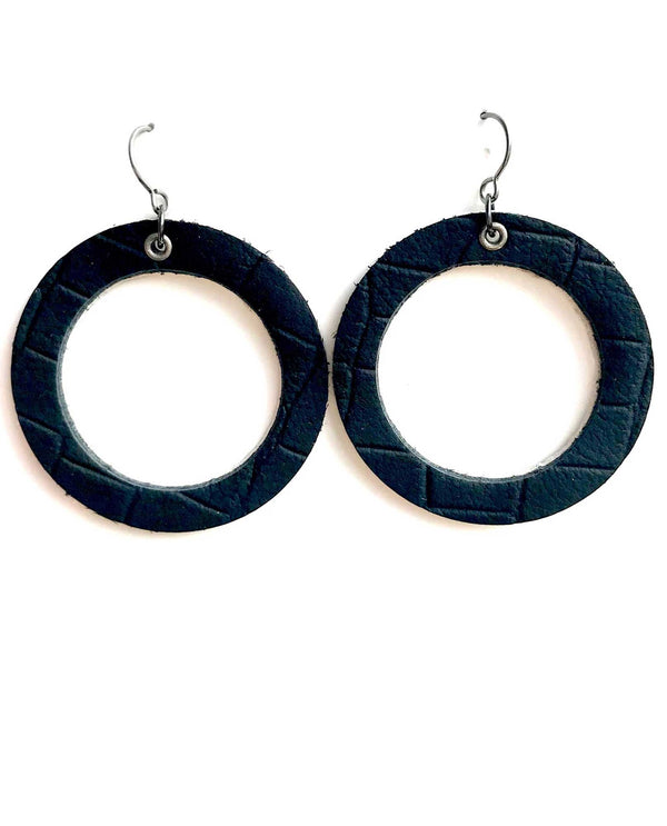 Mend On The Move I Am Enough Earring black leather handmade earrings made in Detroit