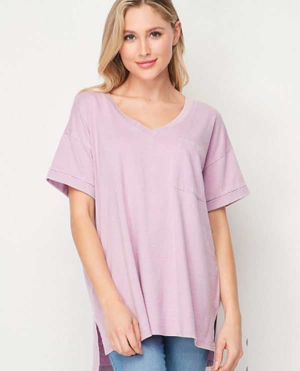 Mineral Wash Pocket T Purple