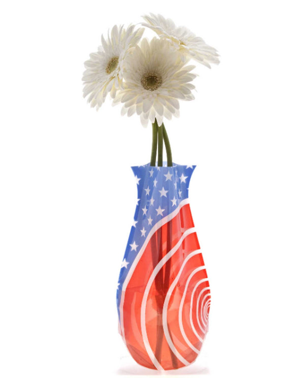 Modgy 66129 Red White and You Expandable Vase BPA free plastic vase with an American flag print