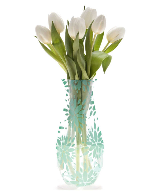 Modgy 66135 Lila Expandable Vase BPA free plastic vase with green flowers