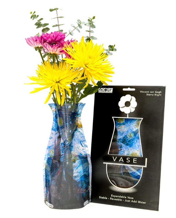Modgy 66165 Starry Night Expandable Vase BPA free vase with starry night by Van Gogh printed