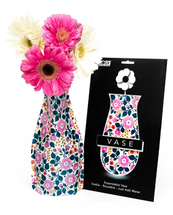 Modgy 66183 Aviva Expandable Vase BPA free plastic vase with floral print