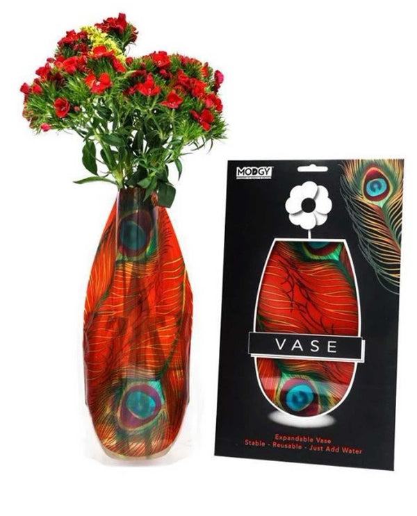Modgy 77002 Peacock Expandable Vase BPA free plastic vase for flowers with a red peacock print