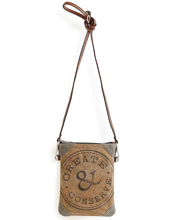 Mona B 5309 Create & Conserve Crossbody small canvas crossbody purse with vintage inspired print
