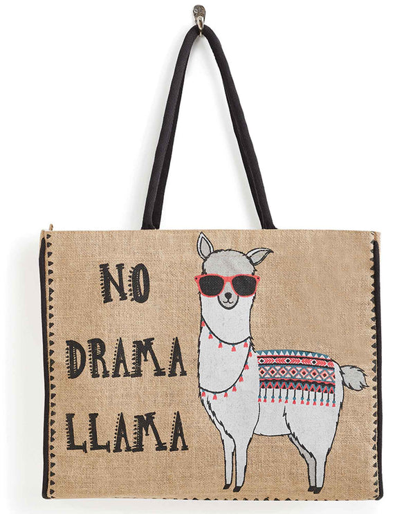 Mona B B-501 No Drama Tote upcycled canvas bag with a sassy llama on the front