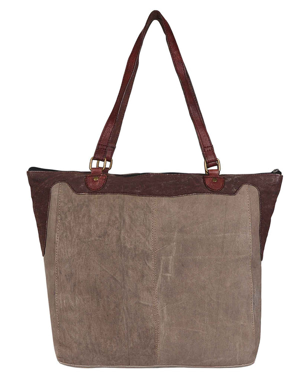 Mona B M-5002 Ivy Tote taupe upcycled canvas tote with a leaf design