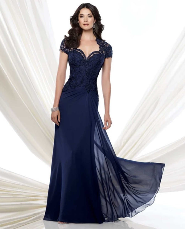 Montage 115974W Lace Cap Sleeve Gown Navy