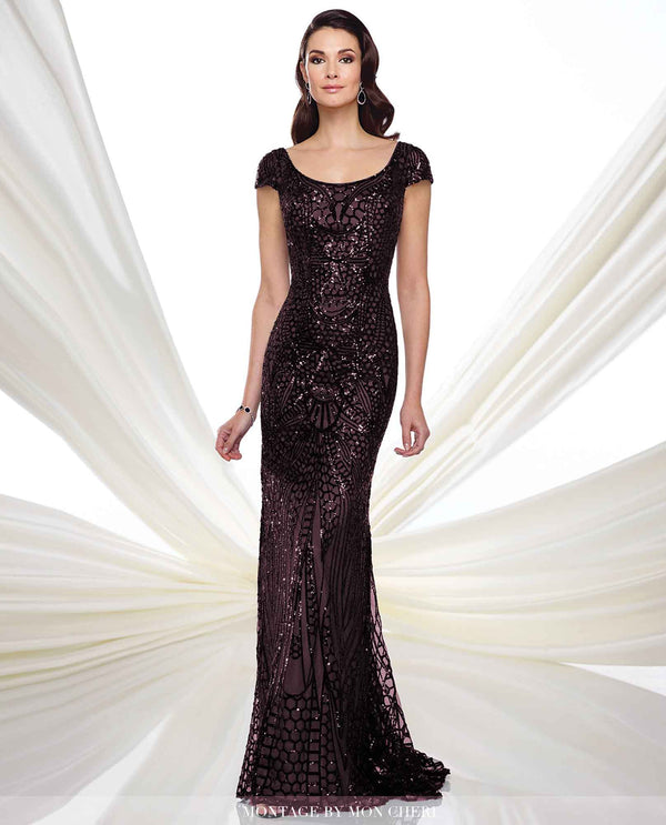 Montage 216972 Long Sequin Gown wine sequin mother of the bride gown with cap sleeves
