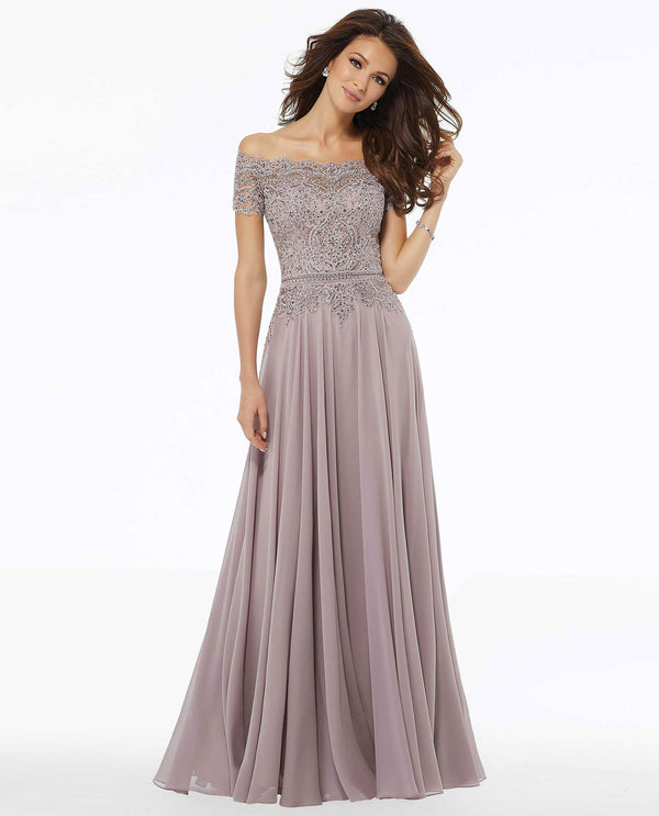 Mori Lee 72133 Beaded Off The Shoulder Gown with Lace Dusty Rose