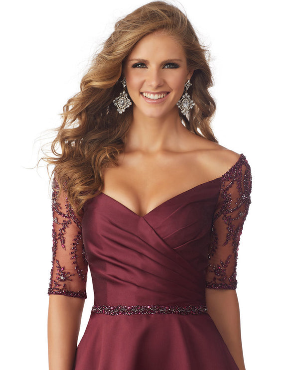 Mori lee 71804 satin illusion dress burgundy long mother of the bride gown with lace sleeves