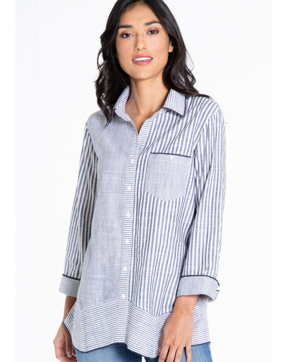 Multiples M21607BW Mitre Hem Stripe Shirt