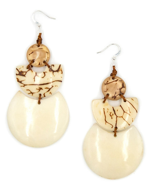 Organic Tagua 1E028 Susana Earrings Cafe