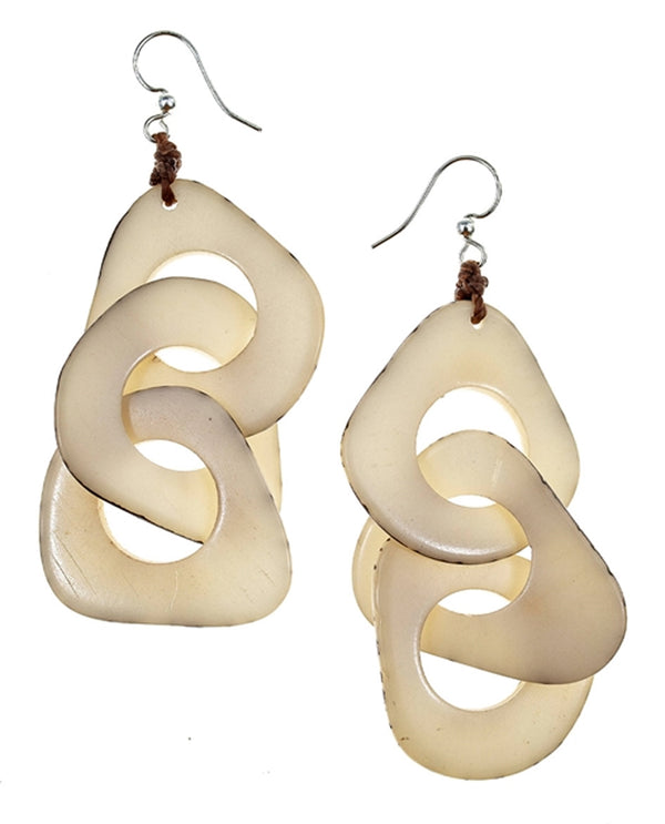 Organic Tagua 1E140 Vero Earrings Ivory