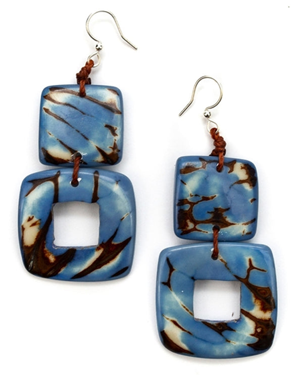 Organic Tagua 1E625-BB Zamora Earring Lake Blue