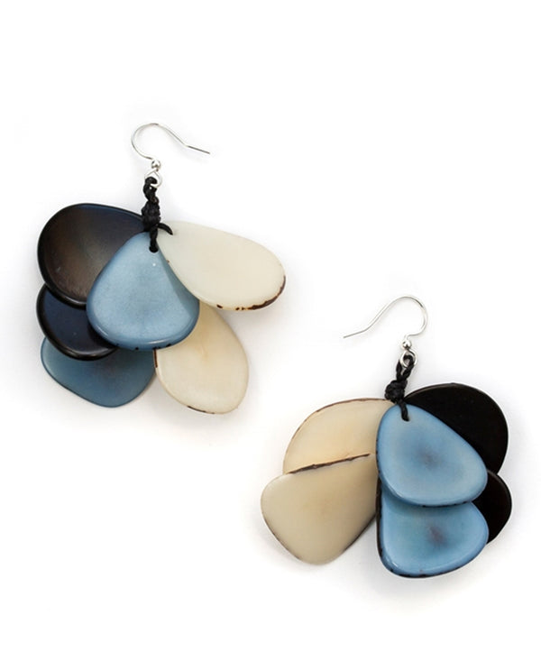 Organic Tagua 1E715-BB COMBO Mariposa Earrings Blue Combo
