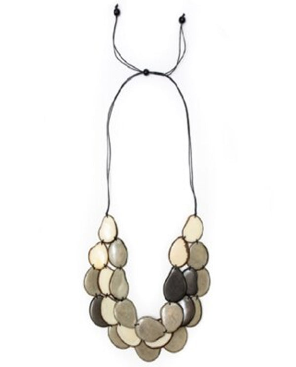 Organic Tagua LC250-CO-IV Amigas Necklace Char and Ivory Combo