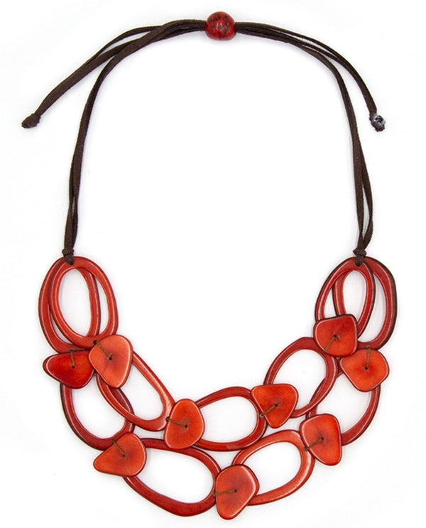 Organic Tagua SC049-RO Crystal Necklace Red