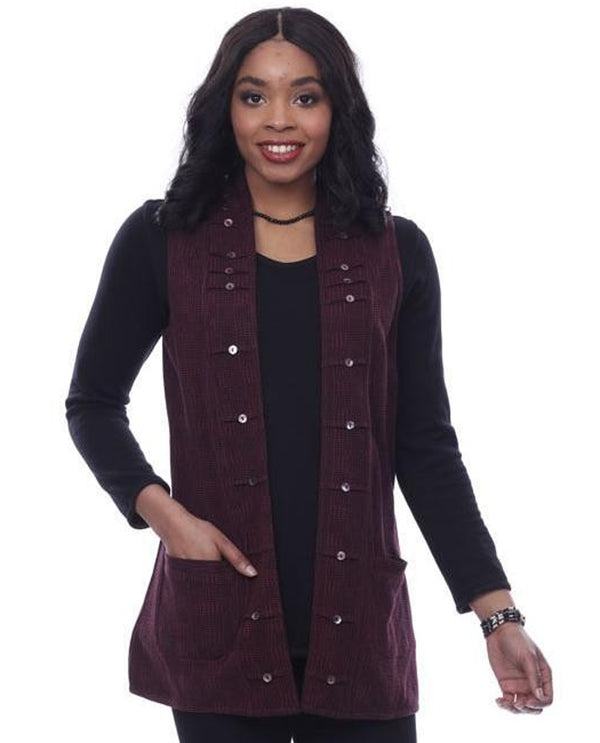 Parsley and Sage 20W244F1P Alyson Reversible Vest Maroon