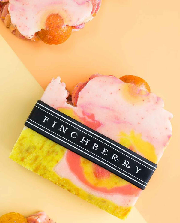 FinchBerry Past Curfew Soap handmade vegan soap with a citrus scent and sunset inspired marble