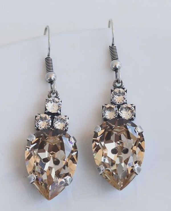 Light silk Pauline Drop Pearshape Earring by Rachel Marie Designs pearshaped Swarovski earrings
