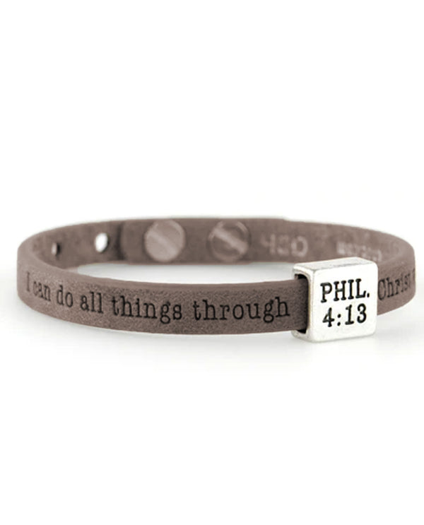 Good Works ASP445413 Phil 4:13 Bracelet Walnut