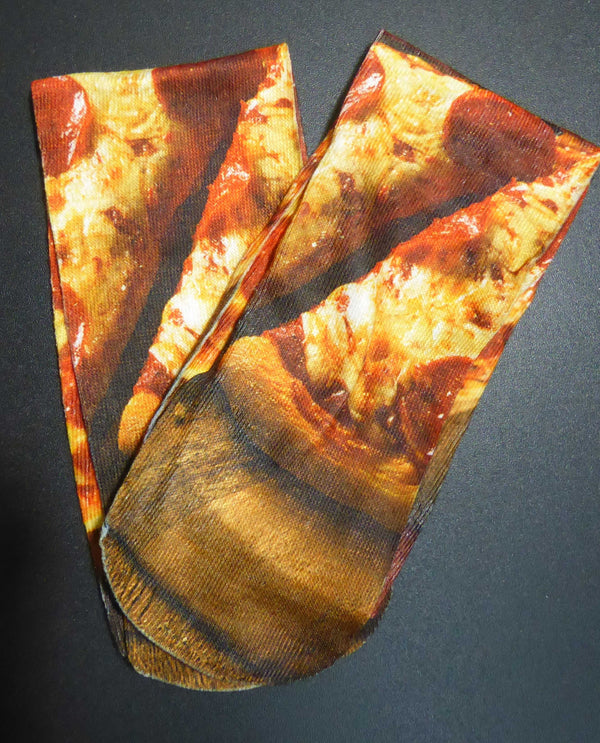 SX28 Pizza Knee Sox with realistic delicious gooey cheese and pepperoni pizza design