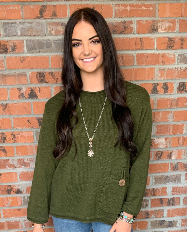 Pocket with Coconut Button Roll Neck Sweater Olive