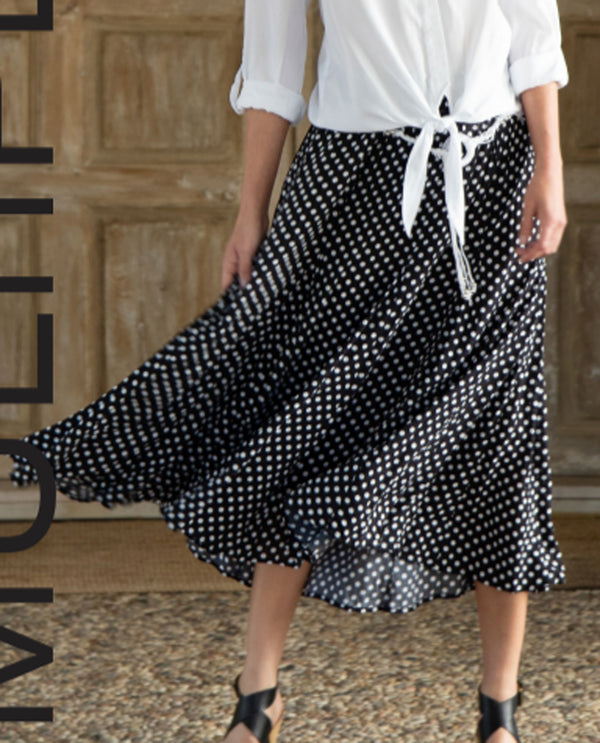 Multiples M20114SM Dot Print Skirt with Belt