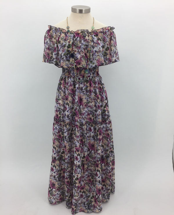 Rabbit Rabbit Rabbit On Or Off The Shoulder Maxi Dress Front View