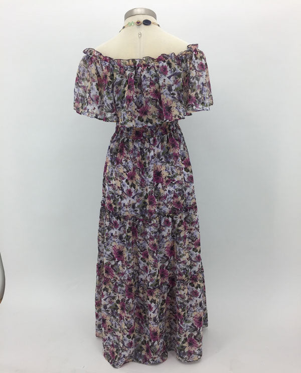 Rabbit Rabbit Rabbit On Or Off The Shoulder Maxi Dress Back View