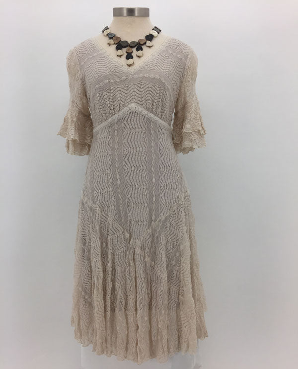 Rabbit Rabbit Rabbit Stone Double Ruffle Sleeve Lace Dress Front View