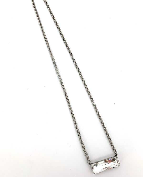 Rachel Marie Designs Baguette Bar Necklace Clear