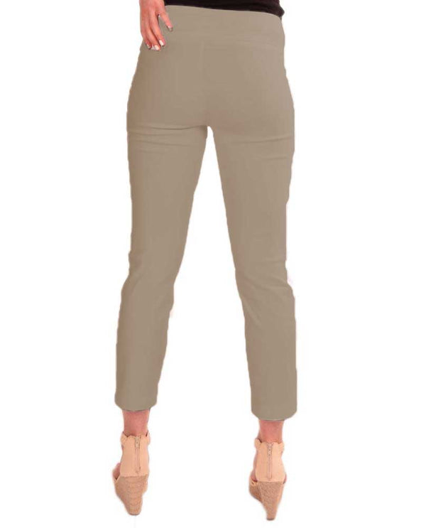 Back Raffinalla P411-70 Ankle Pants in beige feature a tummy control waistband to hold you in